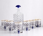 Lomonosov Glass Decanter and 6 Whiskey Lowball Glasses Set Cobalt Net
