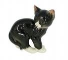Cat Kitty Black Lomonosov Imperial Porcelain Figurine