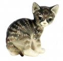 Cat Kitty Gray Striped Lomonosov Imperial Porcelain Figurine