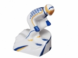 Lomonosov Porcelain Porcelain Figurine Winter Sport Mountain Skier Blue Uniform