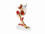 Lomonosov Porcelain Figurine Winter Sport Ice Hockey Player Red and Golden Uniform