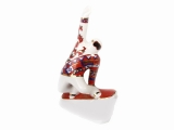 Porcelain Figurine Winter Sport Snowboarder Red and Golden Uniform