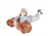 Girl with Freckles and Dog Lomonosov Porcelain Sculpture Figurine