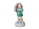 Girl with Umbrella and Cat Lomonosov Porcelain Sculpture Figurine