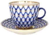 Lomonosov Porcelain Porcelain Tulip Coffee Cup and Saucer Cobalt Net 4.7 oz/140 ml