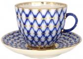 Lomonosov Porcelain Porcelain Tulip Coffee Cup and Saucer Cobalt Net 4.7 oz/140 ml