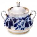 Lomonosov Imperial Porcelaine Sugar Bowl Blue Bells 10 oz/300 ml
