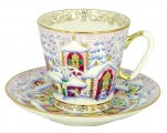 Lomonosov Imperial Porcelain Bone China Cup and Saucer Winter Day 2.71 fl.oz/80 ml