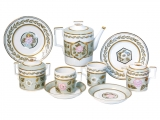 Lomonosov Imperial Porcelain Jade Background Tea set 6/20
