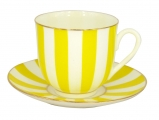 Lomonosov Porcelain Yes and No YELLOW Bone China Espresso Coffee Cup and Saucer 6 oz/180 ml