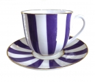 Lomonosov Yes and No VIOLET Bone China Espresso Coffee Cup and Saucer 6 oz/180 ml