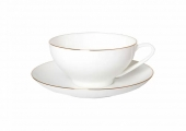 Lomonosov Porcelain Bone China Tea Set Dome Golden Ribbon 10 oz/300 ml