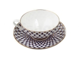 Lomonosov Bone China Tea Set Dome Cobalt Net 10 oz/300 ml