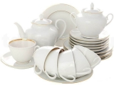 Lomonosov Imperial Porcelain Spring Snow White  Tea Set 6/20: Tea Pot, Sugar Bowl, 6 Cups with Saucers and 6 Cake Plates