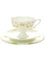 "Imperial Porcelain Bone ChinaTea Set Cup 7.8 oz/220 ml, Saucer and Cake Plate Fiona"" 3pc"