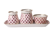 Russian Porcelain Spice set Red Net: Tray, Salt Cellar,Pepper box, Sauceboat