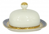 Lomonosov Porcelain Porcelain Butter Holder Dish Rectangular Cobalt Net