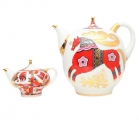 Lomonosov Imperial Porcelain 2 pc Teapot Set Red Horse 82.8 fl.oz + 8.5 fl.oz