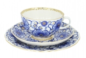 Lomonosov Imperial Porcelain Tea Cup Set 3pc Tulip Bindweed 8.45 oz/250 ml