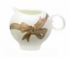 Lomonosov Imperial Porcelain Bone China Creamer Apple Platinum Bows 7.3 fl.oz/215 ml