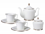 Russian Porcelain Bone China Porcelain Tea Set Service 6/14 Yulia Golden Ribbon