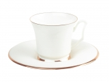 Lomonosov Bone China Porcelain Coffee Cup and Saucer Yulia Golden Ribbon 4.9 fl.oz/145 ml
