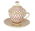 Lomonosov Porcelain Covered Cup Set Gift-2 Red Net 8.45 oz/250 ml