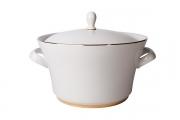 Lomonosov Porcelain Soup Bowl Tureen Youth Golden Ribbon 113.3 oz/3350 ml