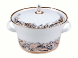 Lomonosov Porcelain Porcelain Soup Bowl Tureen Youth My Garden 113.3 oz/3350 ml