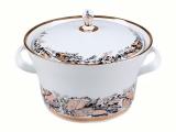 Lomonosov Porcelain Porcelain Soup Bowl Tureen Youth My Garden 113.3 oz/3350 ml