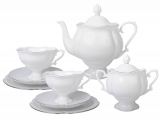 Porcelain Tea Set Natasha Platinum Ribbon 20 pcs 6/20: Tea Pot, Sugar Bowl, 6 Cups with Saucers and 6 Cake Plates
