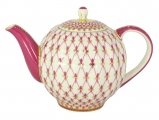 Lomonosov Imperial Porcelain Tea Pot Tulip Red Net 10 Cups 67 oz/2000 ml