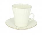 Lomonosov Porcelain Porcelain Bone China Dandelion Coffee Cup and Saucer Golden Edge 5.9 oz/175 ml