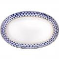 """Lomonosov Porcelaine Oval Platter Herring Dish Cobalt Net 9.8""""/250mm"""