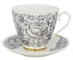 Lomonosov Imperial Bone China Tea Set Carnation Black Summer 2pc 6.8 oz/200 ml