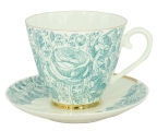 Lomonosov Imperial Bone China Tea Set Carnation Green Summer 2pc 6.8 oz/200 ml