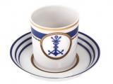 Lomonosov Porcelain Porcelain Tea Cup with Saucer Navy Style #3 7.4 oz/220 ml