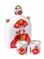 Lomonosov Imperial Porcelain Whiskey/Vodka Decanter Set Slavic Beauty Girl 22 oz/650 ml