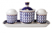 Lomonosov Imperial Porcelain Salt Pepper Spice Set 4 pc Classic of Petersburg