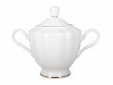 Lomonosov Imperial Porcelaine Bone China Porcelain Sugar Bowl Nega Golden Ribbon 11.8 oz/350 ml