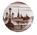 "Decorative Wall Plate Peter and Paul Fortress, St.Petersburg 7.7""/195 mm Lomonosov Imperial Porcelain"