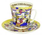 Lomonosov Porcelain Bone China Cup and Saucer May White Huts 5.6 fl.oz/165 ml 2 pc