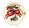 "Decorative Wall Plate Red Horse 7.7""/195 mm Lomonosov Imperial Porcelain"