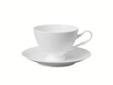 Lomonosov Porcelain Tea Cup on Stand and Saucer Premium White 6.8 fl.oz/200 ml