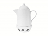 Lomonosov Porcelain Tea Pot Optima White 40.6 fl.oz/1200 ml with Heater Stand
