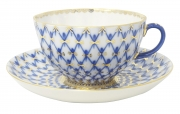 Imperial Lomonosov Porcelain Tea Set Cup and Saucer Cobalt Net