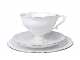 Lomonosov Bone China Tea Set Cup 7.8 oz/220 ml, Saucer and Cake Plate Natasha Platinum Ribbon 3pc