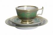 Imperial Lomonosov Porcelain  Espresso Coffee Set Cup, Saucer and Dessert Plate Alexandria Golden 52 6.8 oz/200 ml