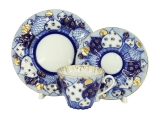 Lomonosov Imperial Porcelain Tea Cup Set 3 pc Radiant Church Bells