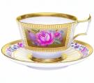Imperial Lomonosov Porcelain Espresso Coffee Set Cup and Saucer Alexandria Recollection 6.8 oz/200 ml